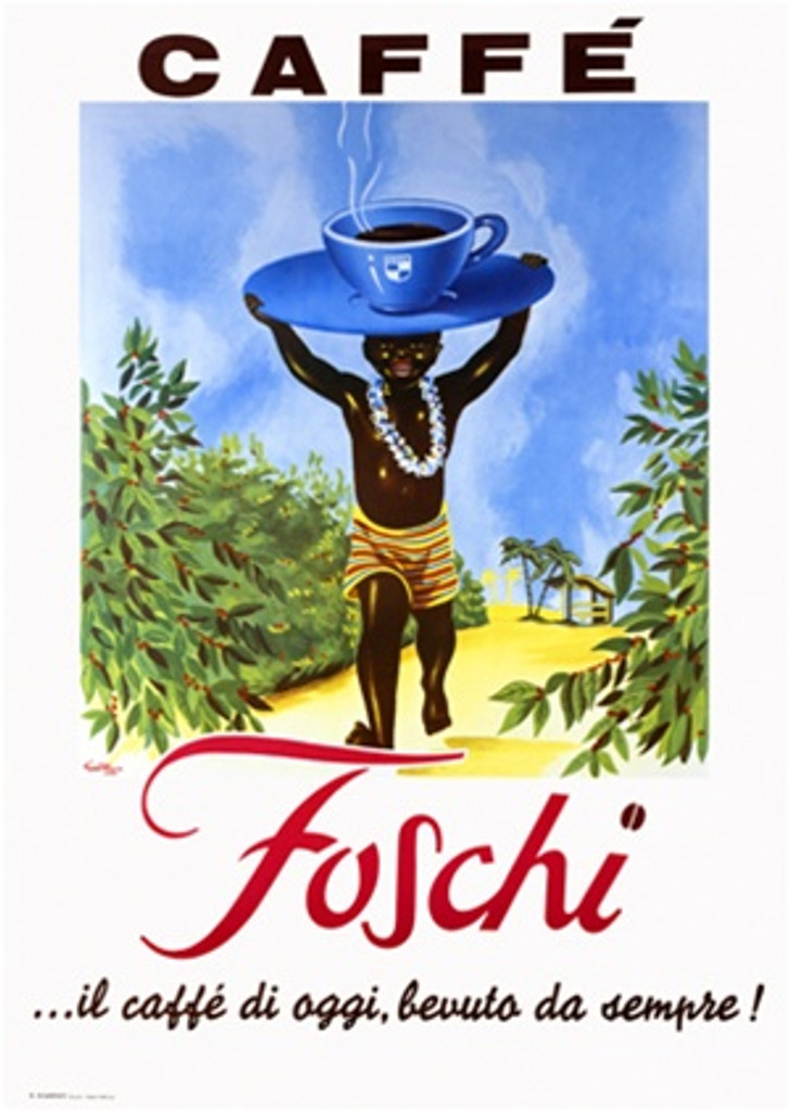 Foschi Cafe 1960 Italy - Beautiful Vintage Poster Reproductions. This vertical Italian culinary / food poster features a boy wearing a lei carrying a giant blue cup and sauce on his head through a coffee field. Giclee Advertising Print. Classic Posters