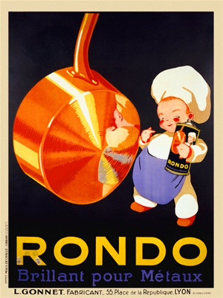 Rondo polish product poster print. Beautiful Vintage Poster Reproductions. French pots cleaner advertisement features a young boy chef next to a copper pot with his reflection holding a can on black. Giclee Advertising Prints Posters.
