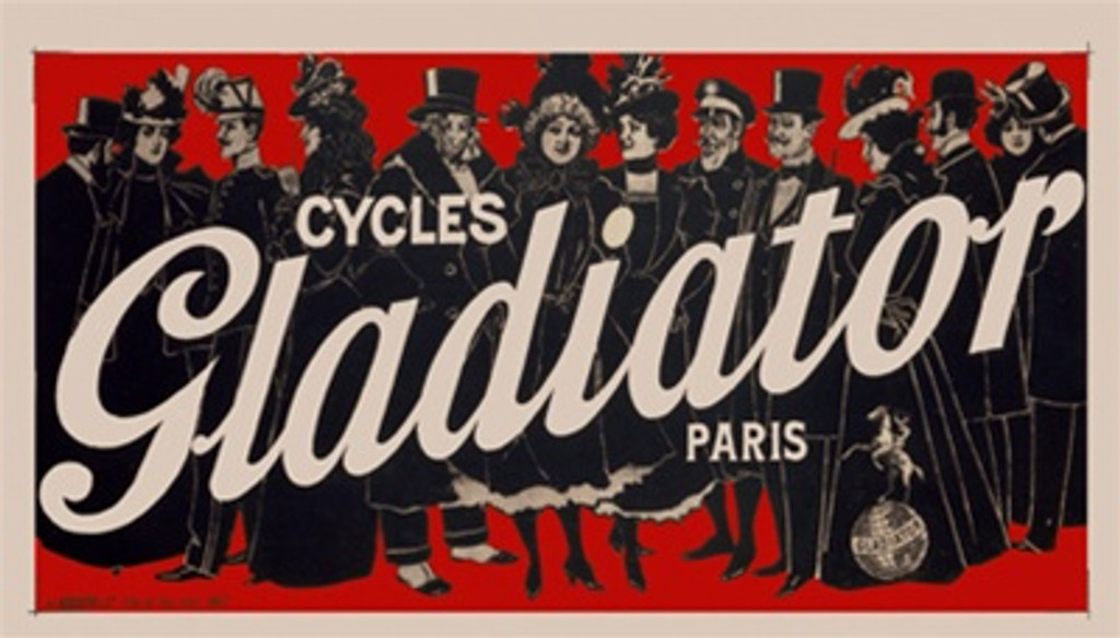 Cycle Gladiator by Imp. Kossuth 1900 France - Vintage Poster Reproductions. This horizontal French transportation poster features a row of people dressed in black tuxedos and dresses with hats on a red background. Giclee Advertising Print. Classic Posters