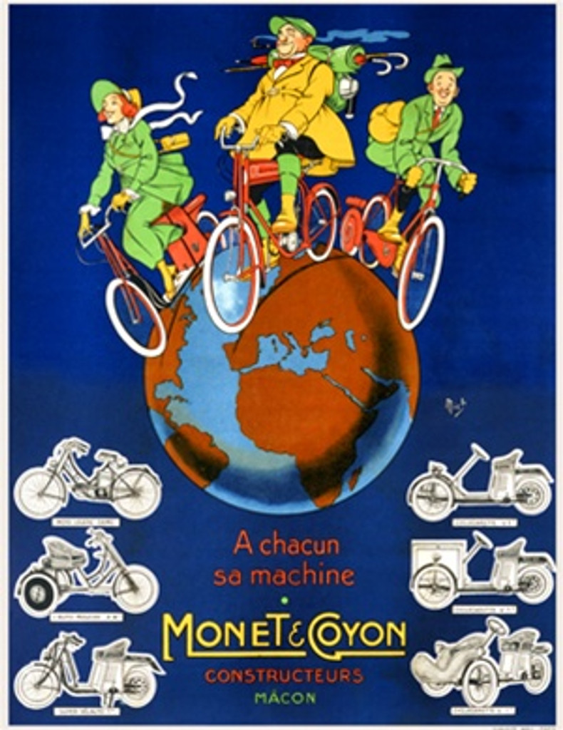 Monet and Goyon by Mich 1918 France - Beautiful Vintage Poster Reproductions. This vertical French transportation poster features 2 men and a woman riding their bikes over a globe against a blue background. Giclee Advertising Print. Classic Posters