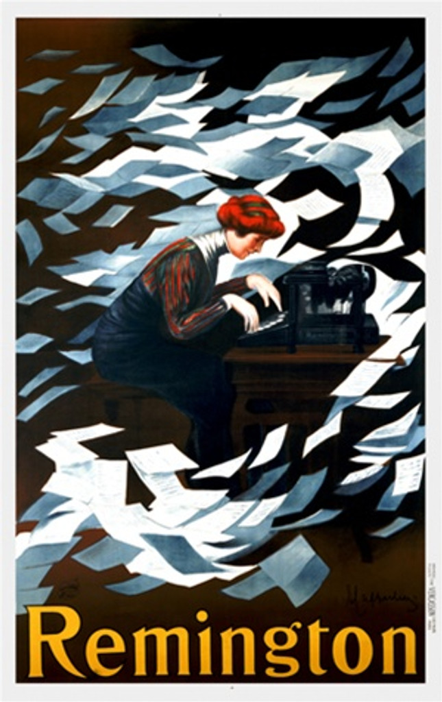 Remington by Cappiello 1910 France - Beautiful Vintage Poster Reproduction. This vertical French poster features a red headed secretary (woman) typing away as papers fly all around her and her typewriter. Giclee advertising print. Classic Posters