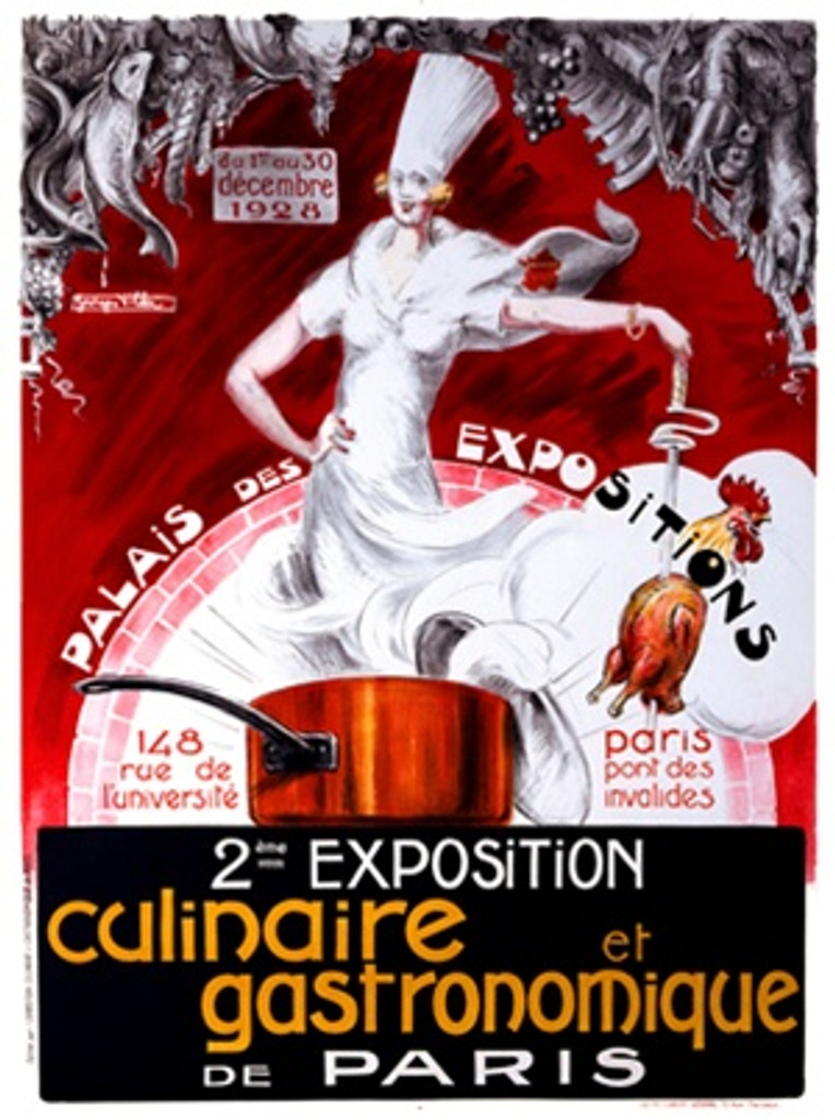 Exposition Culinaire et Gasronomique 1928 France - Vintage Poster Reproductions. This vertical French culinary / food poster features a woman in white with chefs hat standing in a pot holding out a chicken. Giclee Advertising Print. Classic Posters