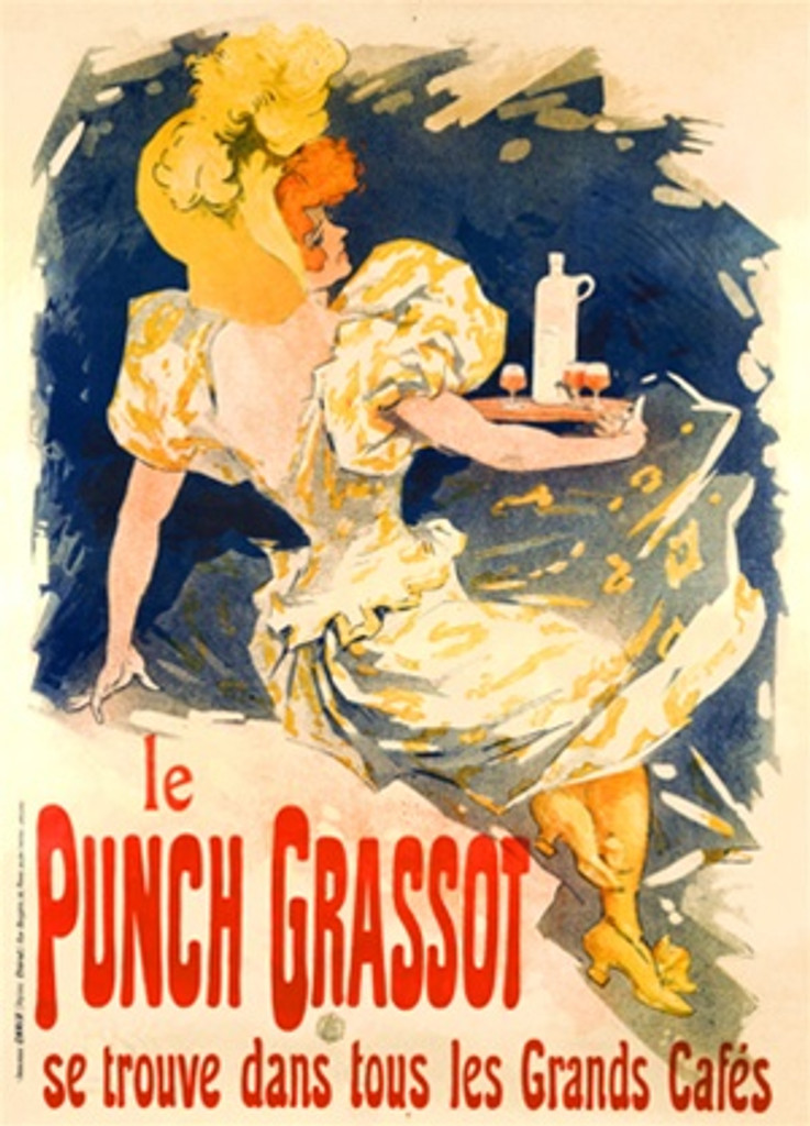 le Punch Grassot by Cheret 1895 France - Vintage Poster Reproductions. This vertical French wine and spirits poster features a woman in a yellow hat who appears to be falling backwards with a tray of drinks. Giclee Advertising Print. Classic Posters