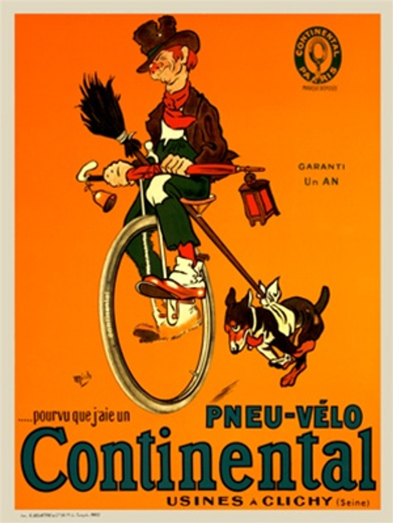 Pneu Velo Continental by Mich 1918 France - Vintage Poster Reproductions. This French transportation poster features a man on a unicycle holding an umbrella with a lantern and bell and a dog running next to him. Giclee Advertising Print. Classic Posters