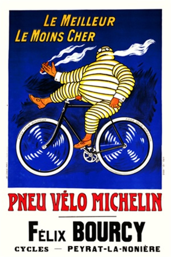 Pneu Velo Michelin by Roowy 1912 France - Beautiful Vintage Poster Reproductions. French transportation poster features a man made of tires riding a bike smoking a cigar on a blue background. Giclee Advertising Print. Classic Posters