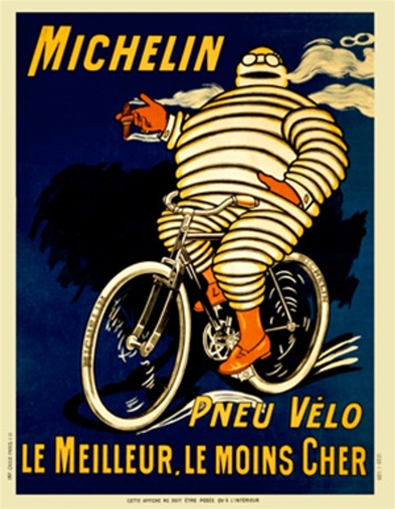 Michelin Pneu Velo Le Meilleur by O'Gallop 1903 France - Beautiful Vintage Poster Reproduction. This vertical French transportation poster features a man made of tires riding a bike smoking a cigar with blue and black backgrounds. Giclee Advertising Print. Classic Posters