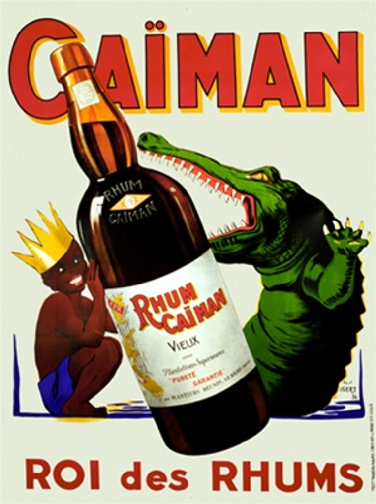 Caiman Rhum by Igert 1936 France - Beautiful Vintage Poster Reproductions. This vertical French wine and spirits poster features a boy in a crown hiding behind a bottle of Rum from an crocodile. Giclee Advertising Print. Classic Posters