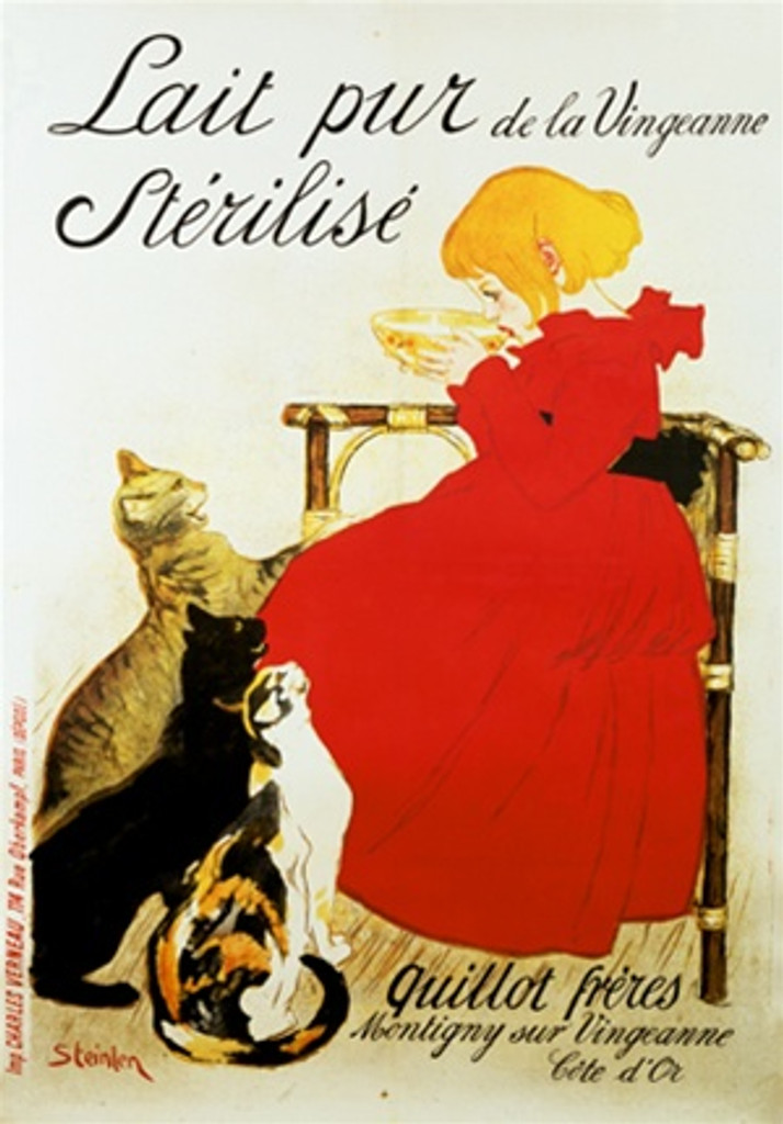Lait pur de la Vingeanne Sterilise by Steinlen 1894 France - Vintage Poster Reproductions. This French culinary food poster features a girl in a red dress sitting drinking milk with felines at her feet. Giclee Advertising Print. Classic Posters