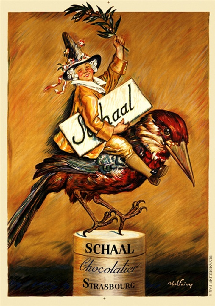 Schaal Chocolatier by Faivre 1922 France - Beautiful Vintage Poster Reproductions. This vertical French culinary / food poster features a fancy man in a pointed hat riding a bird holing a coco branch and a sign. Giclee Advertising Print. Classic Posters