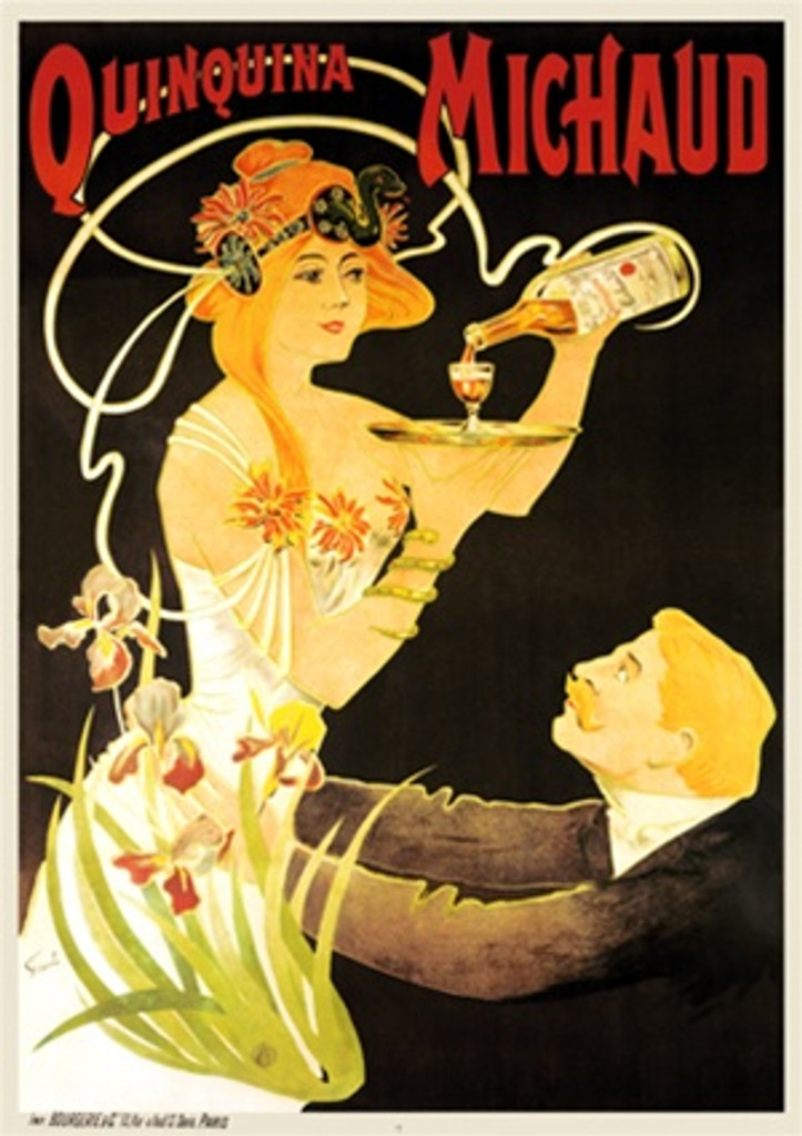 Quinquina Michaud by Fernel 1899 France - Vintage Poster Reproductions. This French wine and spirits poster features a man kneeling before a woman pouring a drink into a glass on a tray on a black background. Giclee Advertising Print Classic Posters