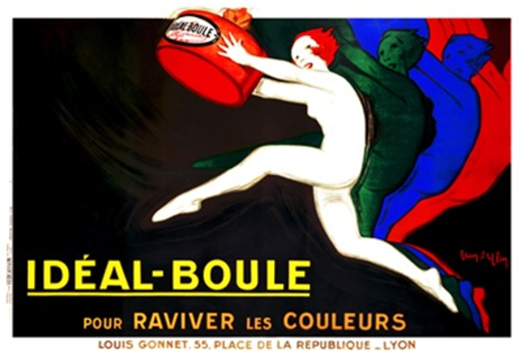 Ideal Boule by DYlen 1928 France - Beautiful Vintage Poster Reproductions. This horizontal French product poster features nude woman holding a jar stepping with green blue and red shadows lines up behind her. Giclee Advertising Print. Classic Posters
