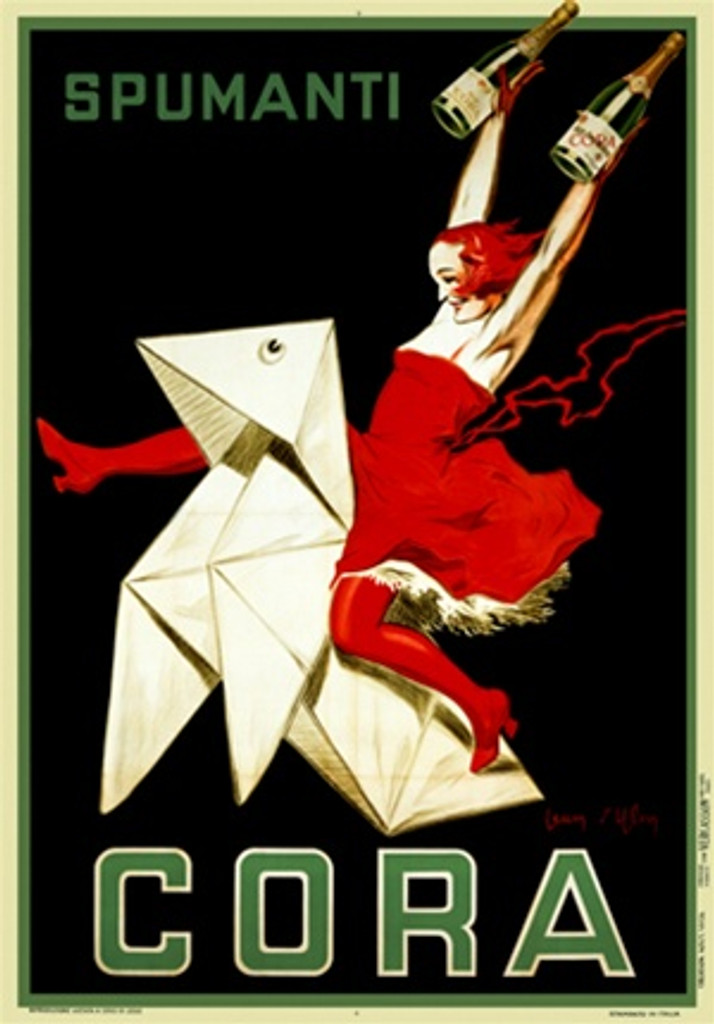 Spumanti Cora by D Ylen 1921 Italy - Vintage Poster Reproductions. This vertical Italian wine and spirits poster features a woman in a read dress holding up two bottles while riding a white paper origami horse. Giclee Advertising Print. Classic Posters