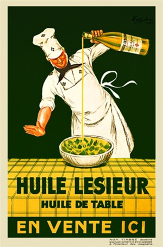 Huile Lesieur by Cappiello 1930 France - Beautiful Vintage Poster Reproduction. This vertical French poster features a chef pouring oil on a salad set on a yellow table with a green background. Giclee advertising print. Classic Posters