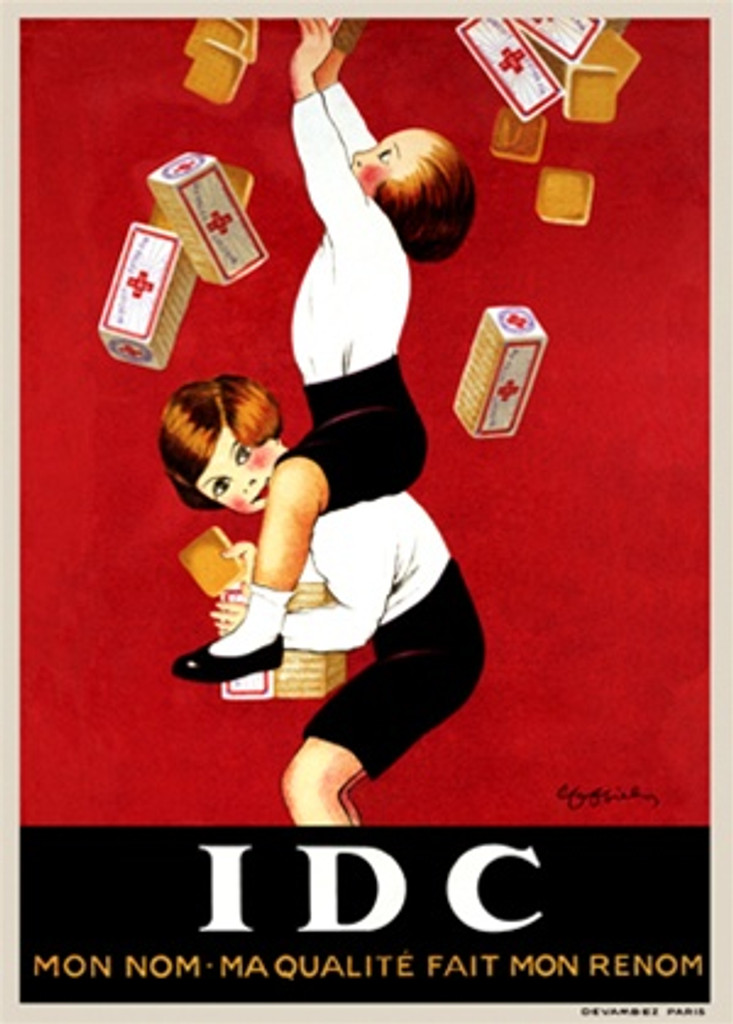 IDC by Cappiello 1920 France - Beautiful Vintage Poster Reproduction. This vertical French poster advertising biscuits features two children on each others shoulders catching boxes falling against a red background. Giclee advertising print. Classic Poster