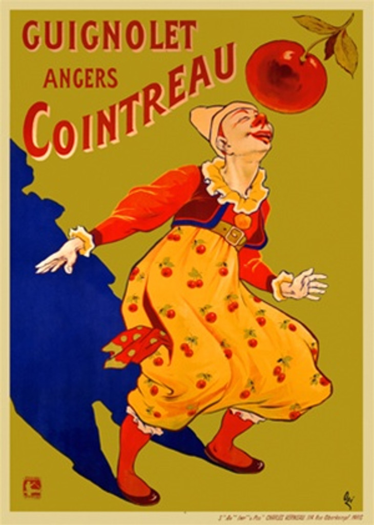 Guignolet Angers Cointreau by Oge 1903 France - Vintage Poster Reproductions. This vertical French wine and spirits poster features a clown touching his nose to (smelling) a cherry hanging from the top right. Giclee Advertising Print. Classic Posters