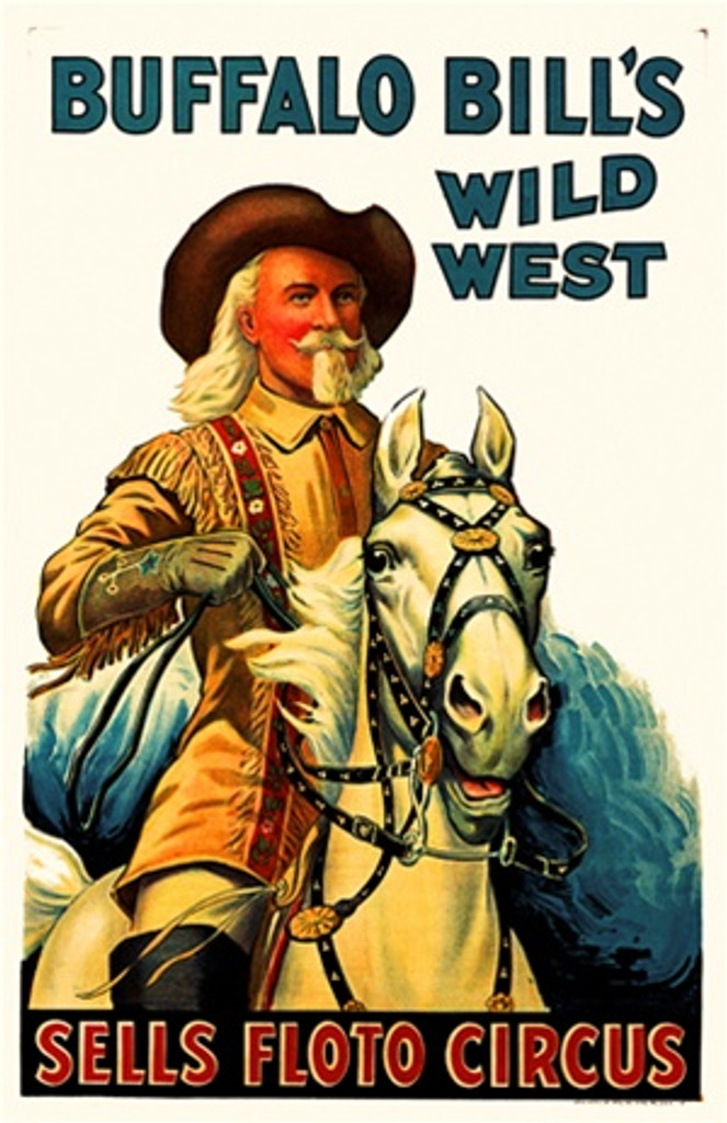 Buffalo Bills Wild West 1930 America USA - Beautiful Vintage Poster Reproductions. This vertical American theater and exhibition poster features a cowboy with long white hair and a mustache and beard on his horse. Giclee Advertising Print. Classic Posters