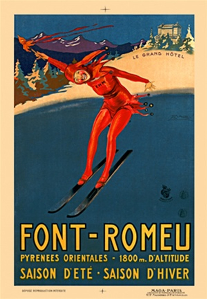 Font Romeau by Mauzan 1928 France - Beautiful Vintage Poster Reproductions. This vertical French travel poster features a red jester skiing with a grand hotel on the snow covered mountain behind him. Giclee Advertising Print. Classic Posters
