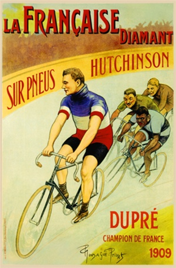 La Francaise Diamant by Privat 1898 France - Vintage Poster Reproductions. This vertical French transportation poster features a bicycle race going around a curve with the leader in a red, white and blue jersey. Giclee Advertising Print. Classic Posters