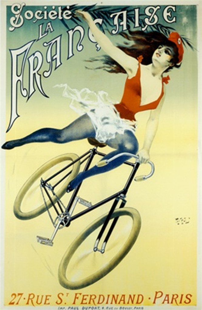 Societe Francaise by PAL 1860 France - Beautiful Vintage Poster Reproductions. This vertical French transportation poster features a woman acrobat in a red hat and costume on a bicycle holding a palm frawn. Giclee Advertising Print. Classic Posters