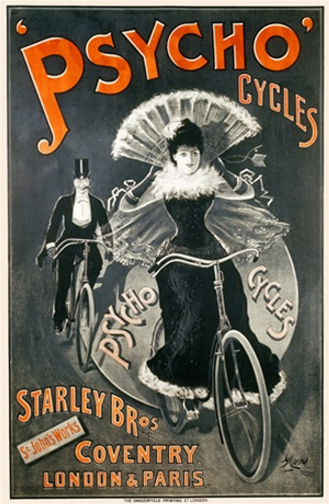 Psycho Cycles by Moore 1898 England - Vintage Poster Reproductions. This vertical English transportation poster features a black and white images of a couple on bicycles wearing a top hat and formal dress. Giclee Advertising Print. Classic Posters