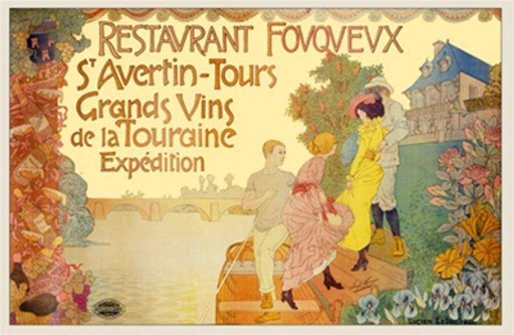 Restaurant Fouqueux poster by Imp. Camis 1900 France - Beautiful Vintage Poster Reproductions. This horizontal French wine poster features two couples on a river or canal bank stepping off a boat or gondola. Giclee Advertising Print. Classic Posters