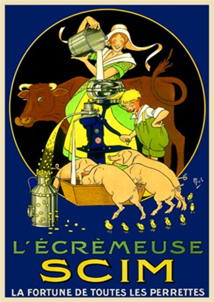 Culinary L Ecremeuse SCIM by Mich 1912 France - Vintage Poster Reproductions. This vertical French culinary / food poster features a woman pouring milk from a bucket with a cow, a boy, pigs and chicks at a pump. Giclee Advertising Print. Classic Posters