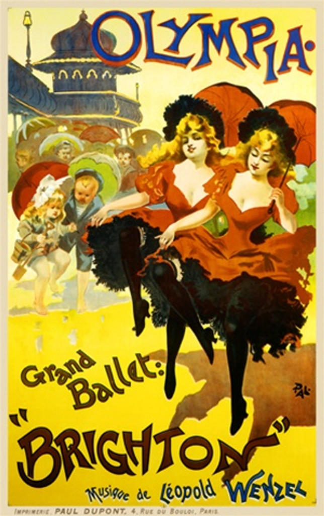 Olympia by PAL 1896 France - Beautiful Vintage Poster Reproductions. This vertical French theater and exhibition poster features 2 identical girls dancing with parasol while children look on dancing with them. Giclee Advertising Print. Classic Posters
