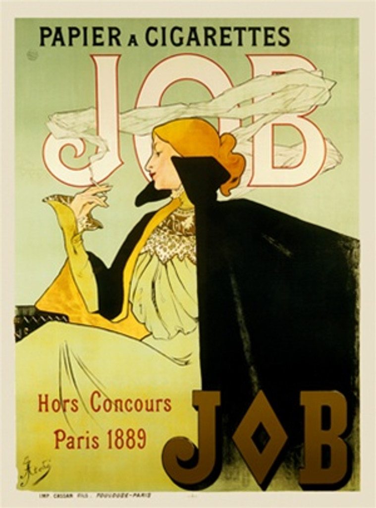 JOB by Atche 1896 France - Beautiful Vintage Poster Reproductions. This vertical French product poster features a woman in a yellow dress and black cape smoking a cigarette. Papier a Cigarettes Giclee Advertising Print. Classic Posters
