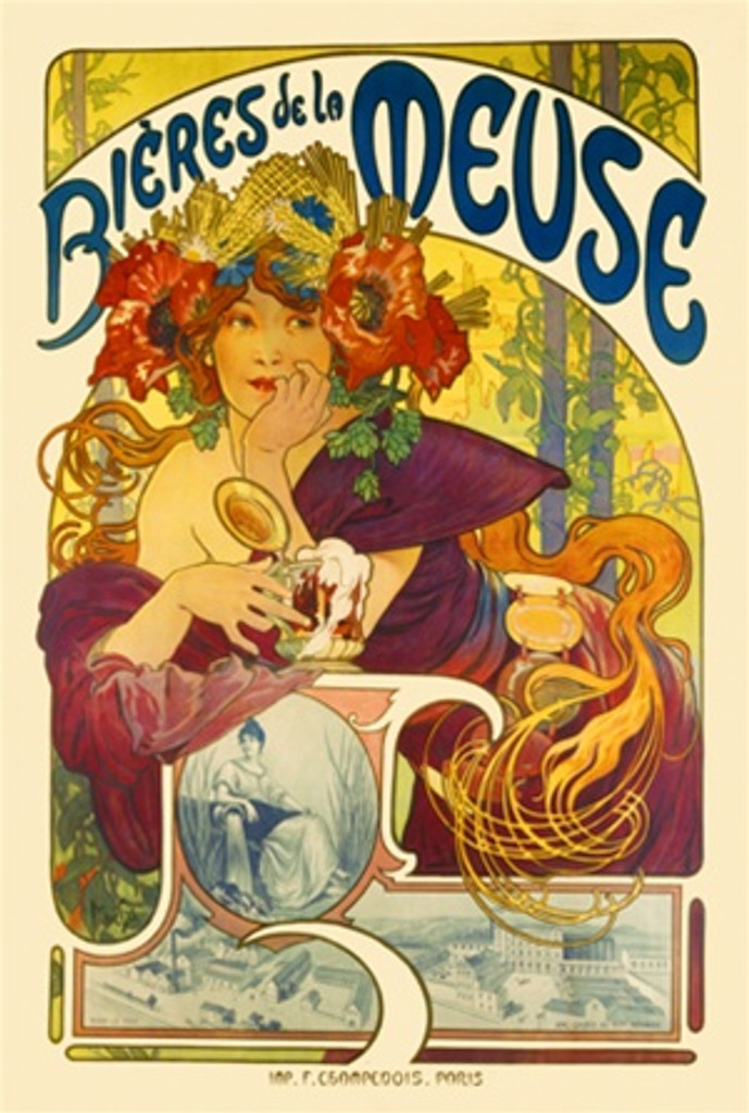 Biere de la Meuse by Mucha 1897 France - Beautiful Vintage Poster Reproductions. This vertical French wine and spirits poster features a woman in a colorful flower hat leaning on a pillar holding a mug of beer. Giclee Advertising Print. Classic Posters