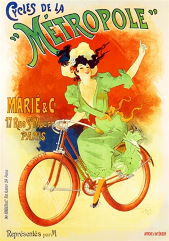 Cycles de la Metropole by Bayle 1896 France - Beautiful Vintage Poster Reproductions. French transportation poster features a woman in a green dress riding her bike holding one hand in the air. Giclee Advertising Print. Classic Posters