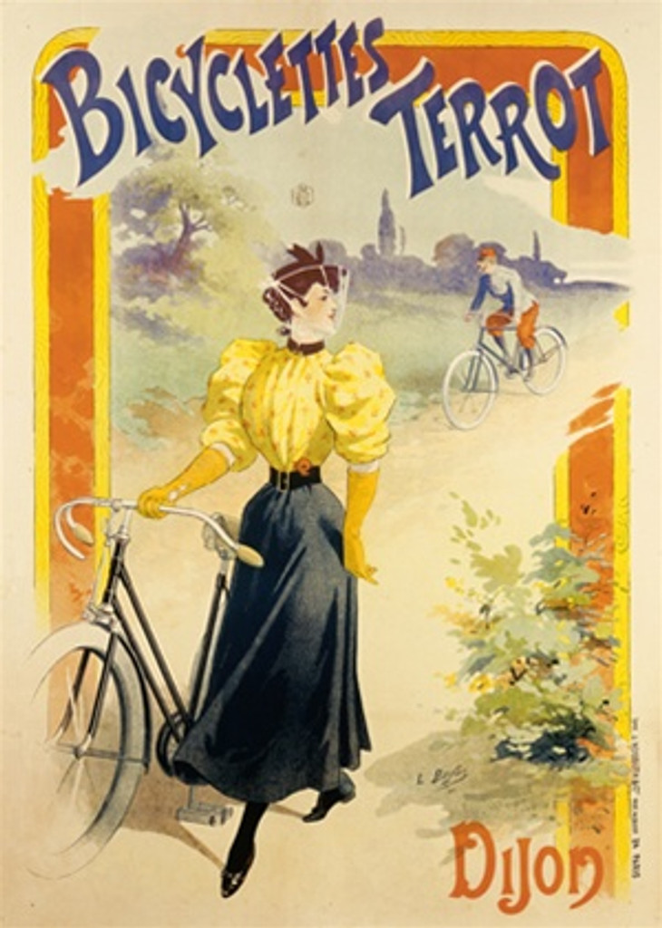 Bicyclettes Terrot by Baylac 1896 France - Beautiful Vintage Poster Reproductions. This vertical French transportation poster features a woman walking with a bicycle and a man riding up behind her on a dirt road. Giclee Advertising Print. Classic Posters