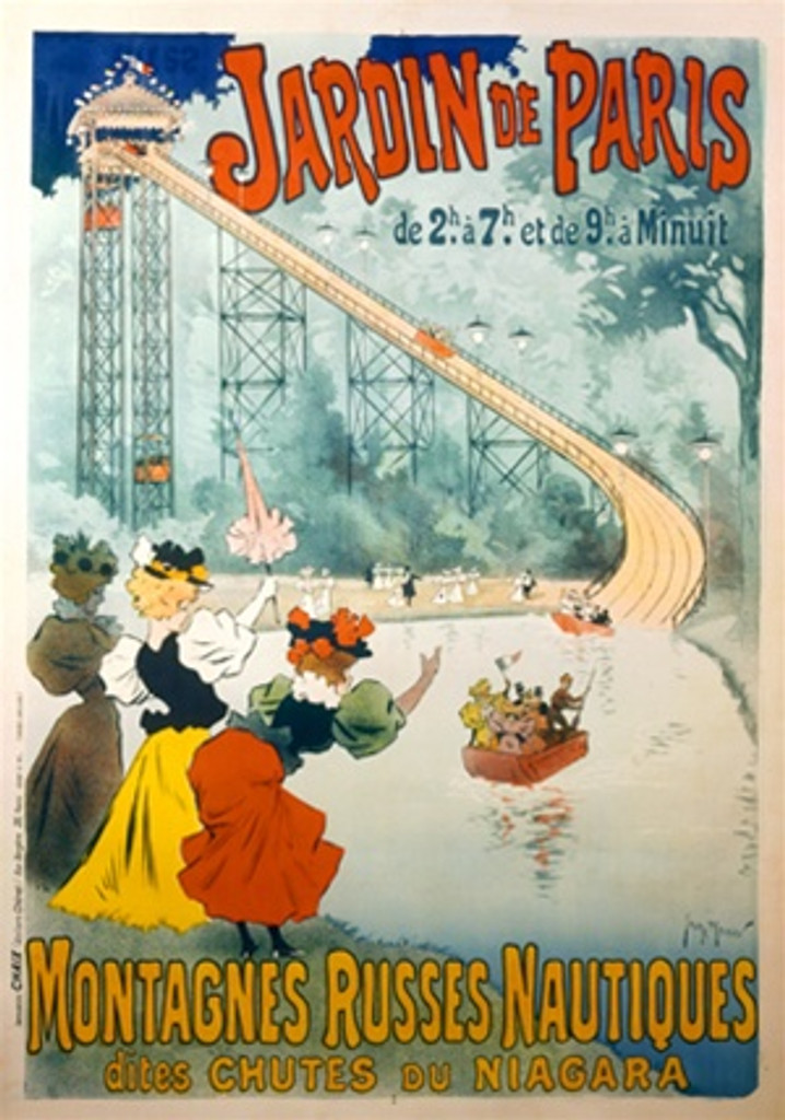 Jardin de Paris by Georges Meunier 1895 France - Beautiful Vintage Poster Reproductions. This vertical French travel poster features a tall slide with boats sliding into a pond with women cheering them on. Giclee Advertising Print. Classic Posters