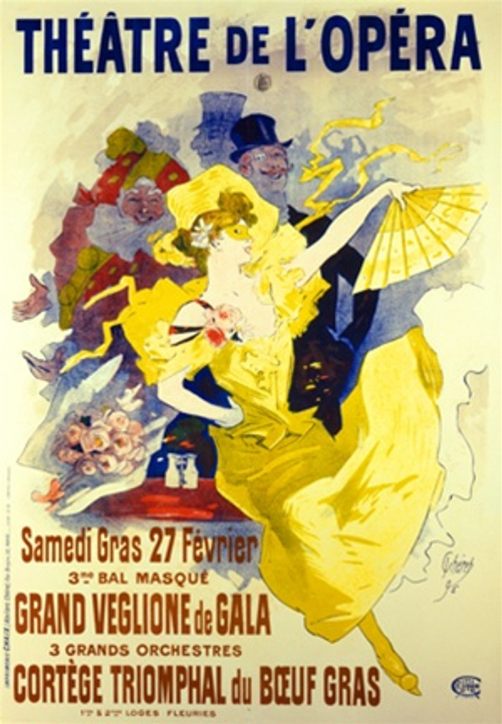 Theatre de LOpera by Cheret 1896 France - Vintage Poster Reproductions. This vertical French theater poster features a woman in a yellow dress and fan dancing in front of 3 men one in costume. Giclee Advertising Print. Classic Posters
