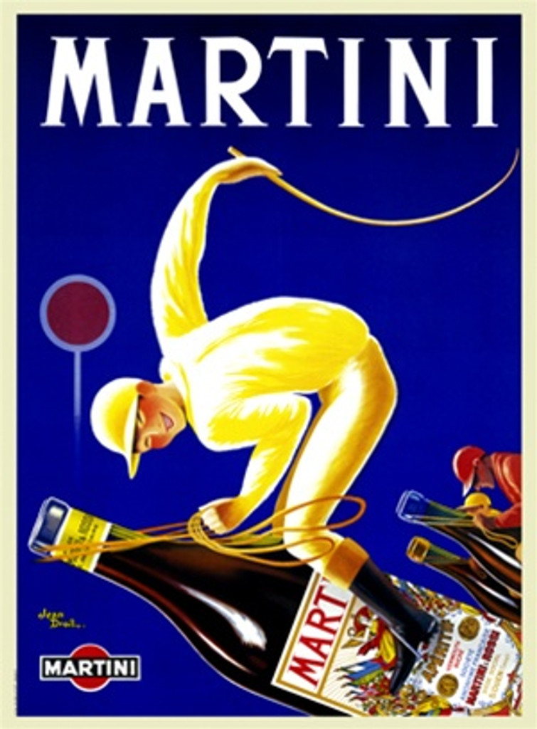 Martini by Droit 1928 France - Beautiful Vintage Poster Reproductions. This vertical French wine and spirits poster features a jockey in yellow riding a bottle holding up a whip on a blue background. Giclee Advertising Print. Classic Posters