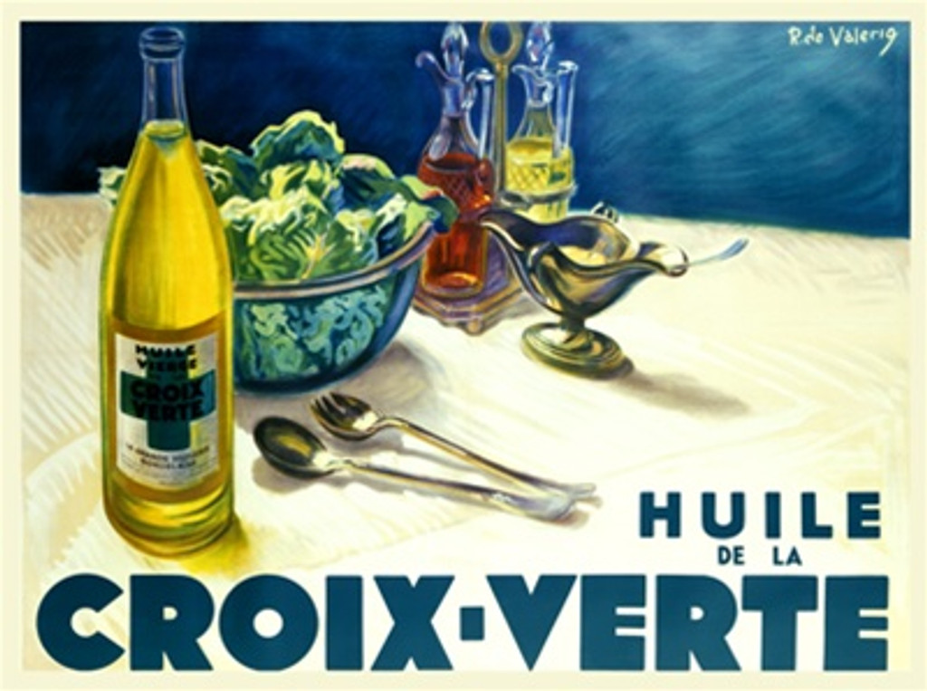Huile de la Croix Verte 1932 France - Vintage Poster Reproductions. This horizontal French culinary / food poster features a still life on a table of wine, salad bowl, serving fork and spoon, oil and vinegar. Giclee Advertising Print. Classic Posters