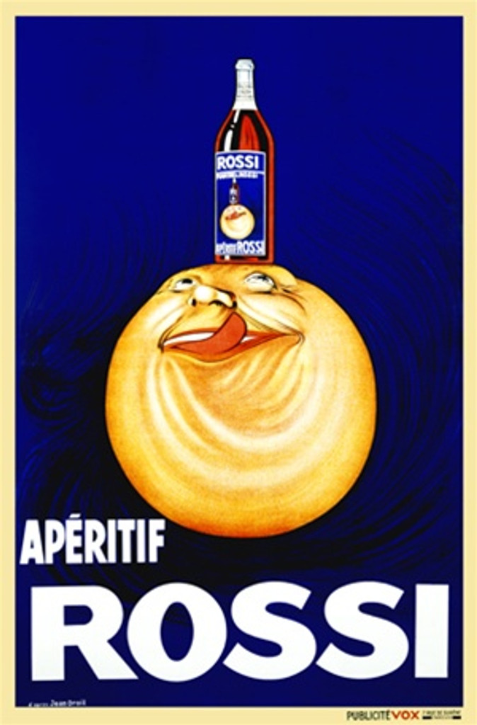 Aperitif Rossi by Droit 1926 France - Vintage Poster Reproductions. This vertical French wine and spirits poster features a sun or orange ball with a face looking up at the bottle on its head licking his lips. Giclee Advertising Print. Classic Posters