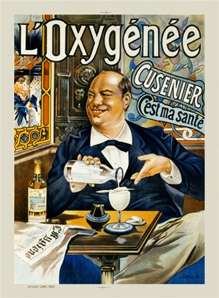 LOxygenee by Tamango 1904 France - Vintage Poster Reproductions. This vertical French wine and spirits poster features a man seated in a bar pouring himself a drink while smiling at a woman through a window. Giclee Advertising Print. Classic Posters
