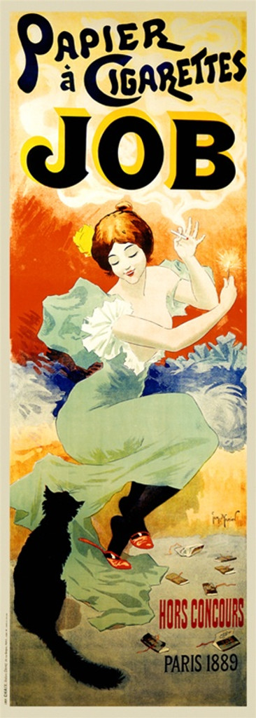 Papier a Cigarettes Job by G/ Meunier 1894 France - Vintage Poster Reproductions. This vertical French product poster features a woman looking down at a black cat as she smokes a cigarette and holding a match. Giclee Advertising Print. Classic Posters