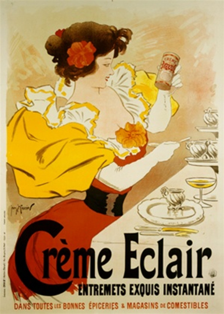 Creme Eclair by Meunier 1896 France - Vintage Poster Reproductions. This vertical French culinary / food poster features a woman with red and yellow dress at a dining table holding up to look at a can. Giclee Advertising Print. Classic Posters