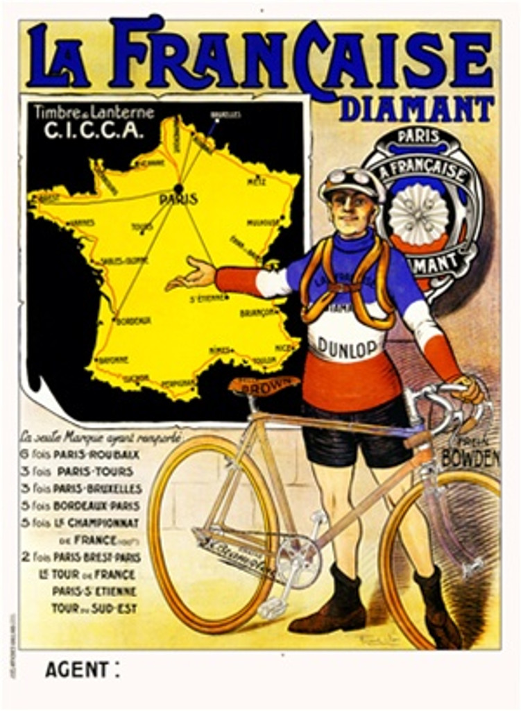 La Francaise Diamant by Vion 1913 France - Vintage Poster Reproductions. This vertical French transportation poster features a cyclist in a blue, white and red jersey next to his bike gesturing to a map of France. Giclee Advertising Print. Classic Posters