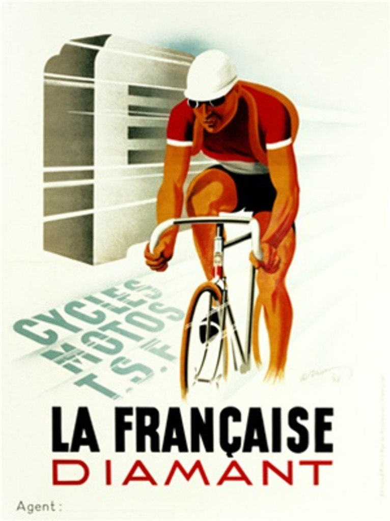 La Francaise Diamant by Naran 1936 France - Beautiful Vintage Poster Reproductions. This vertical French transportation poster features a cyclist racing past a modern structure in a red jersey and white hat. Giclee Advertising Print. Classic Posters