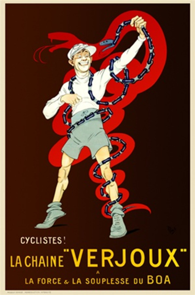 La Chaine Verjoux by Mich 1918 France - Vintage Poster Reproductions. This vertical French transportation poster features a man with a toy snake wrapped around him and the outline of a big red snake behind it. Giclee Advertising Print. Classic Posters