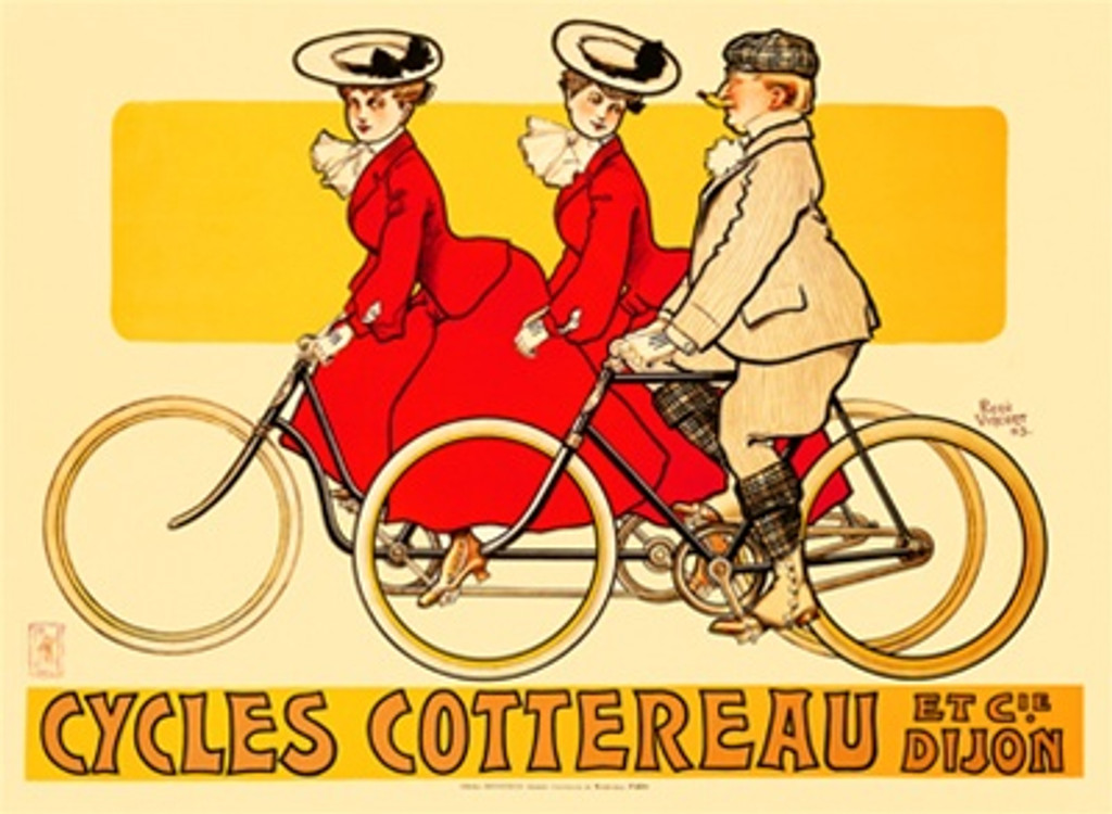 Cycles Cottereau by R Vincent 1905 France - Beautiful Vintage Poster Reproductions. This horizontal French transportation poster features 2 women in red dresses riding a tandem bike and a man pedaling next to them. Giclee Advertising Print. Classic Poster