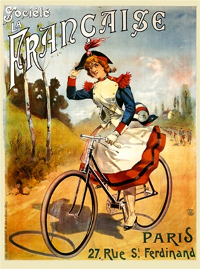 Societe la Francaise cycle poster by Pal - Beautiful Vintage Poster Reproductions. This French transportation poster features a woman in a soldiers uniform riding a bike on a country road holding her hat. Cycling Advertising Print. Classic bike Posters
