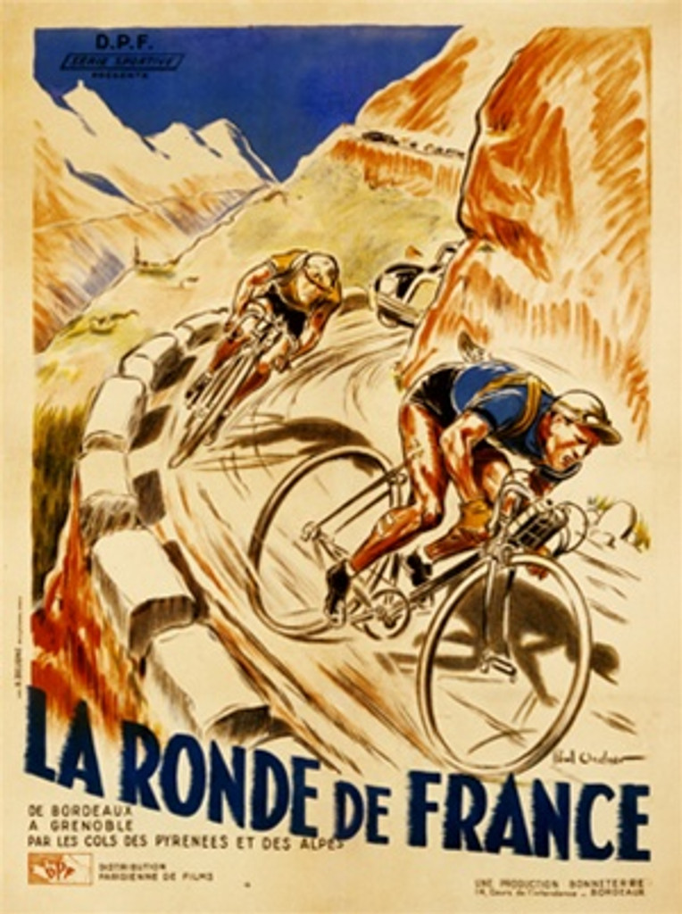 La Ronde de France by Ordner 1928 France - Beautiful Vintage Poster Reproductions. This vertical French transportation poster features a 2 cyclist racing down a mountain road with a car coming up behind them. Giclee Advertising Print. Classic Posters