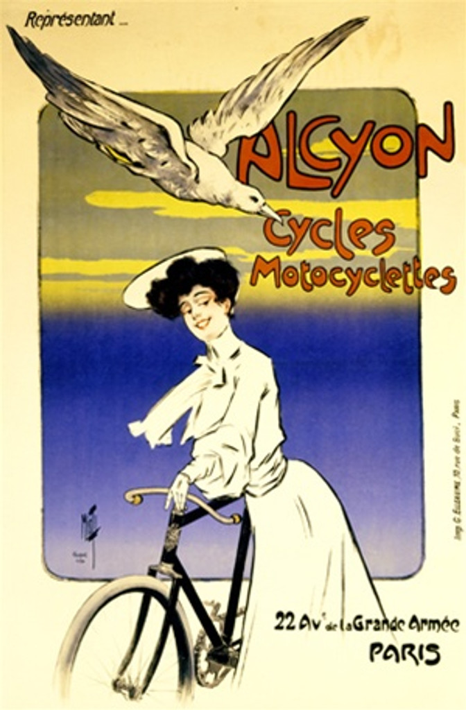 Alcyon Cycles Motocyclettes poster by Misti - Vintage Poster Reproductions. French transportation poster features a woman in white with her bicycle and a seagull flying overhead with a frame of sky behind. Giclee Advertising Print. Classic Posters