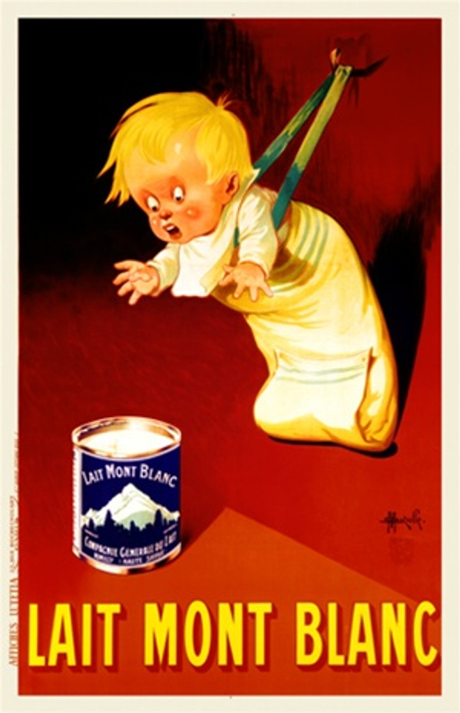 Lait Mont Blanc by Auzolle 1926 France - Vintage Poster Reproductions. This vertical French culinary / food poster features a boy leaning forward on a strap hooked to the wall to grab a can on red background. Giclee Advertising Prints. Classic Posters