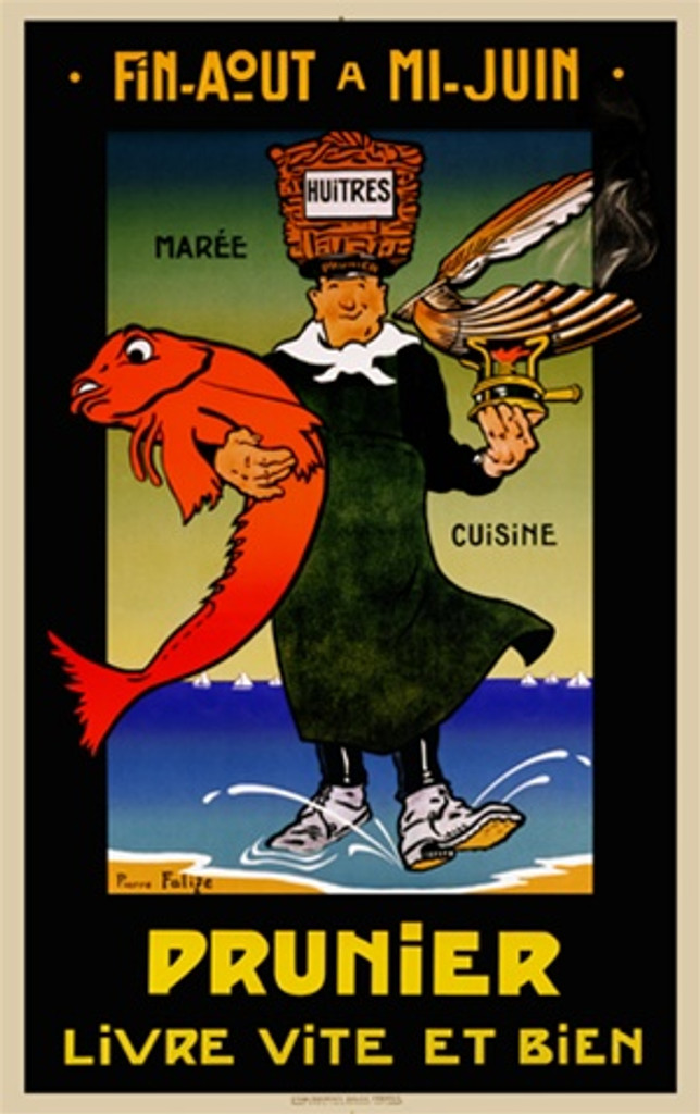 Prunier poster by Felize 1928 France - Beautiful Vintage Poster Reproductions. French culinary / food poster features a man walking out of ocean holding a fish, a clam cooking and a basket on his head. Giclee Advertising Prints Posters.