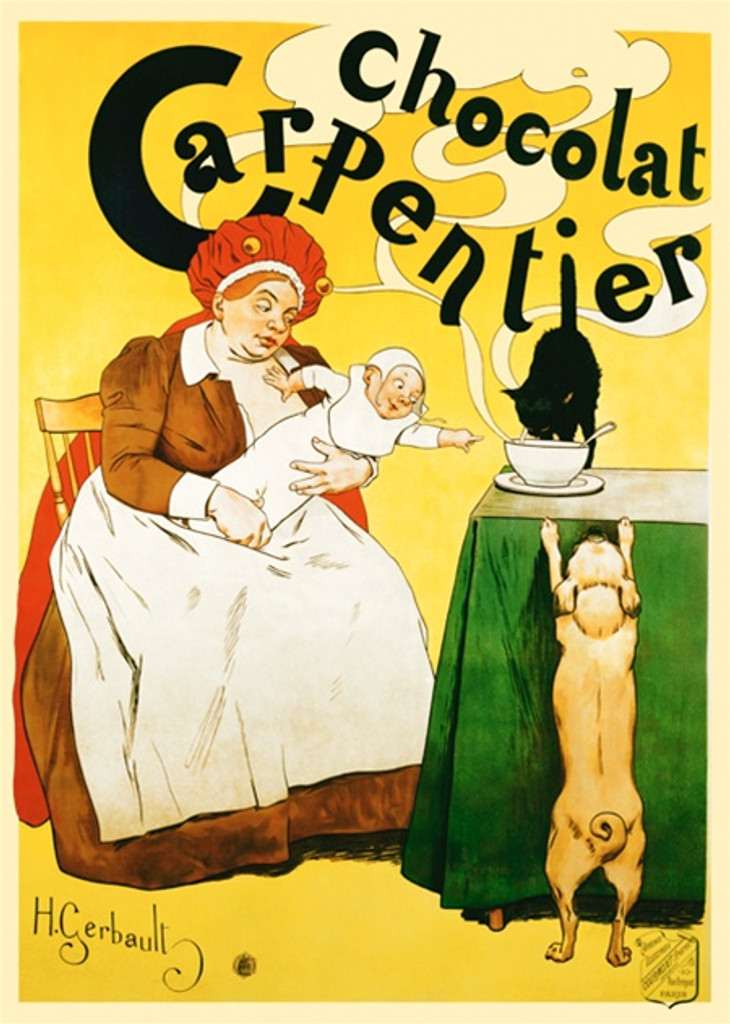 Chocolat Carpentier by H. Gerbault 1897 France - Vintage Poster Reproductions. This French culinary/food poster features a woman with a baby reaches for a steaming bowl with a cat drinking it and dog jumping up. Giclee Advertising Print. Classic Posters