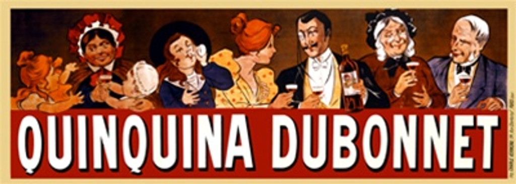 Quinquina Dubonnet by Oge 1904 France - Beautiful Vintage Poster Reproductions. This horizontal French wine and spirits poster features a row of people, young to old, drinking above the red banner. Giclee Advertising Print. Classic Posters